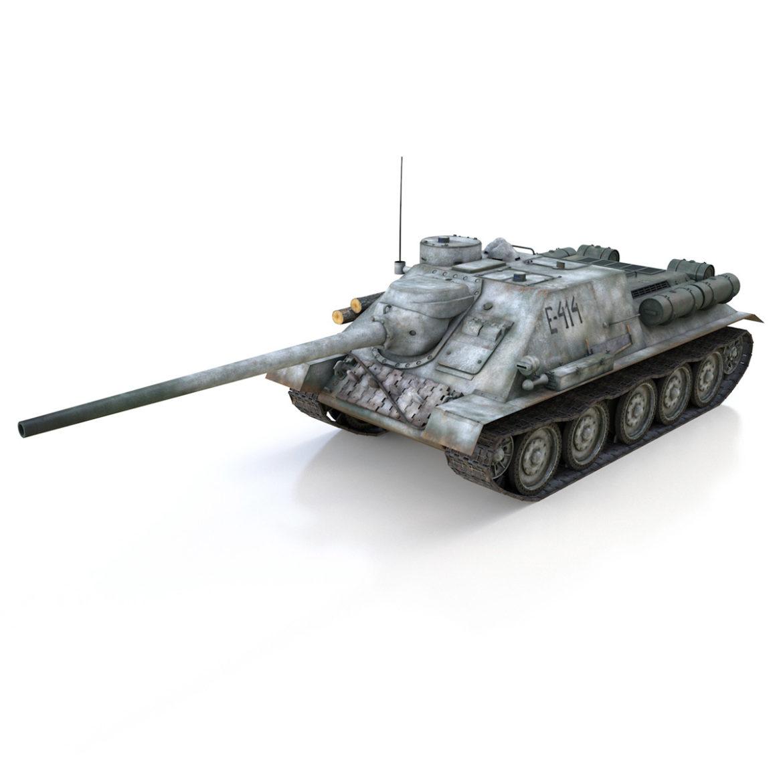 su-100 - e414 - padomju tanku iznīcinātājs 3d modelis 3ds c4d lwo obj 314696
