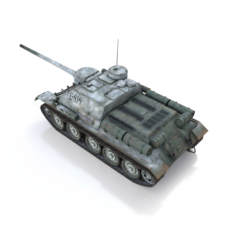 su-100 – e414 – soviet tank destroyer 3d model 3ds c4d lwo obj 314698