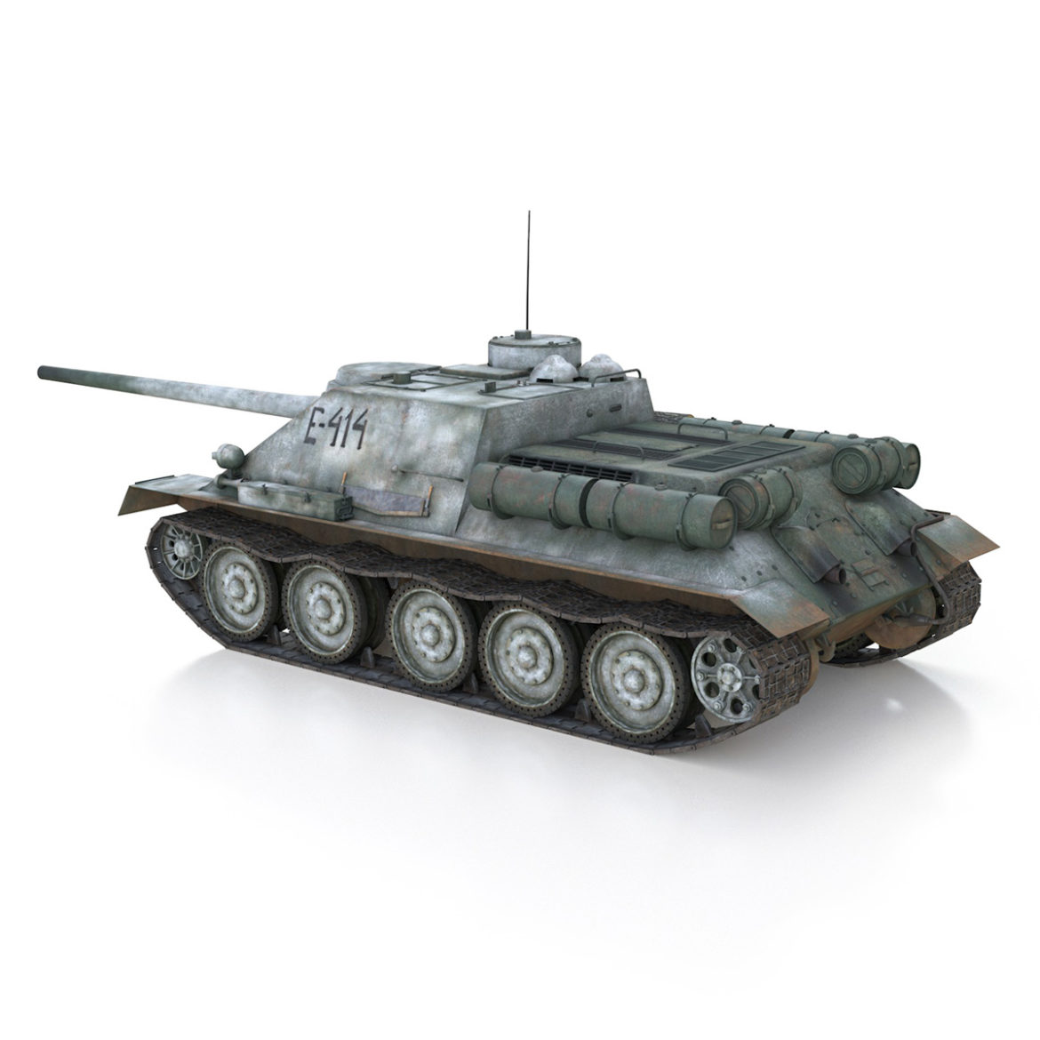 su-100 – e414 – soviet tank destroyer 3d model 3ds c4d lwo obj 314699