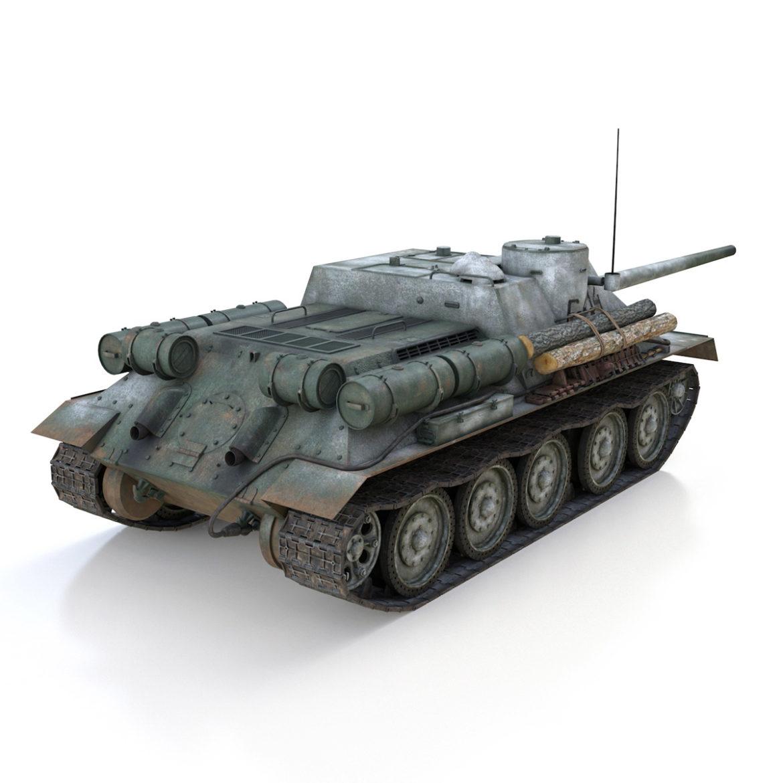 su-100 - e414 - padomju tanku iznīcinātājs 3d modelis 3ds c4d lwo obj 314700