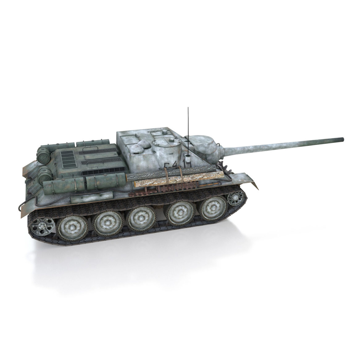 su-100 – e414 – soviet tank destroyer 3d model 3ds c4d lwo obj 314701