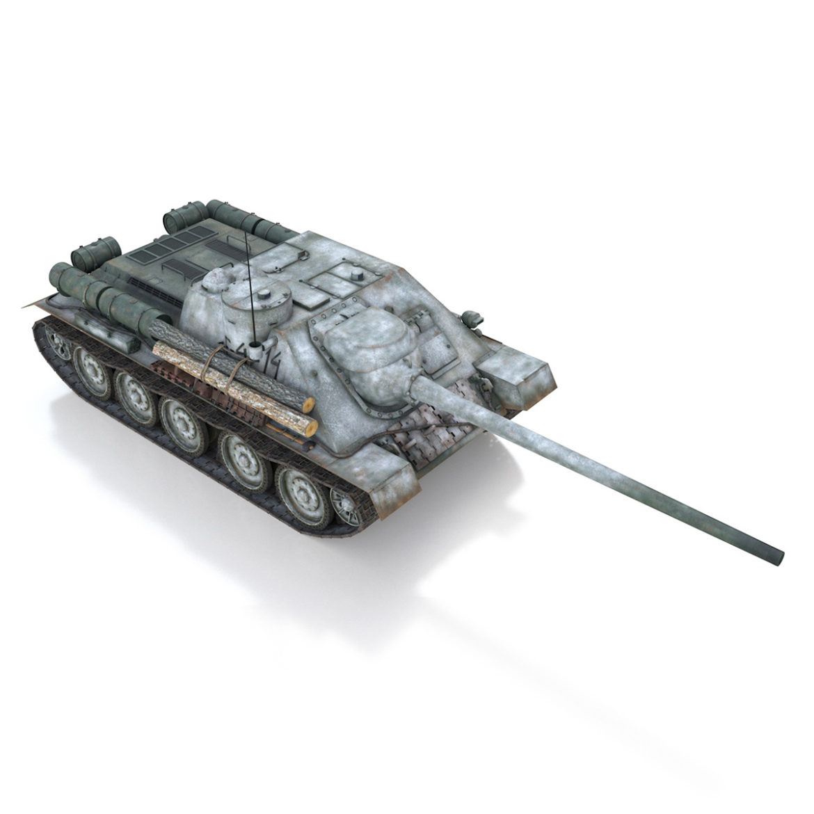 su-100 – e414 – soviet tank destroyer 3d model 3ds c4d lwo obj 314702