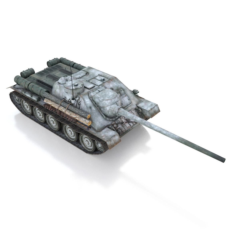 su-100 - e414 - padomju tanku iznīcinātājs 3d modelis 3ds c4d lwo obj 314702