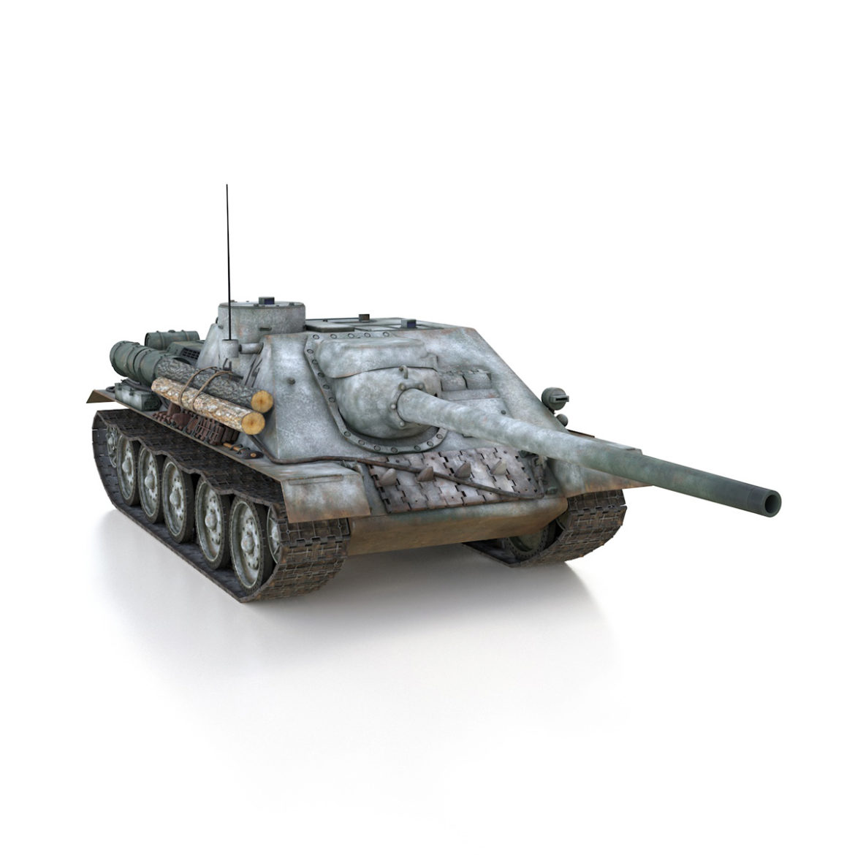 su-100 – e414 – soviet tank destroyer 3d model 3ds c4d lwo obj 314703