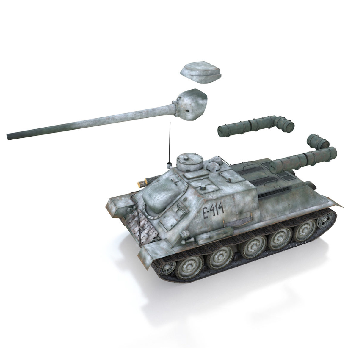 su-100 – e414 – soviet tank destroyer 3d model 3ds c4d lwo obj 314705