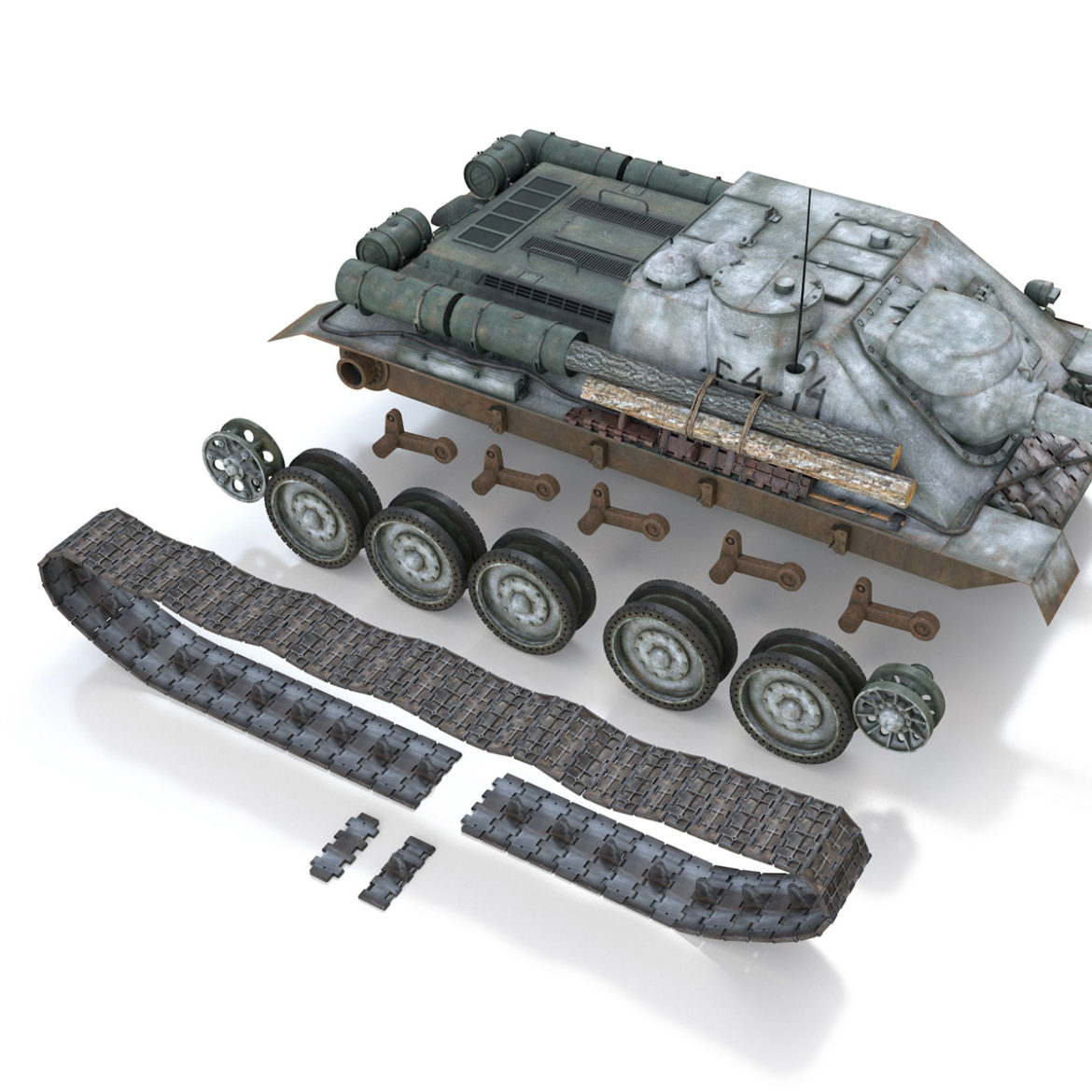 su-100 – e414 – soviet tank destroyer 3d model 3ds c4d lwo obj 314706