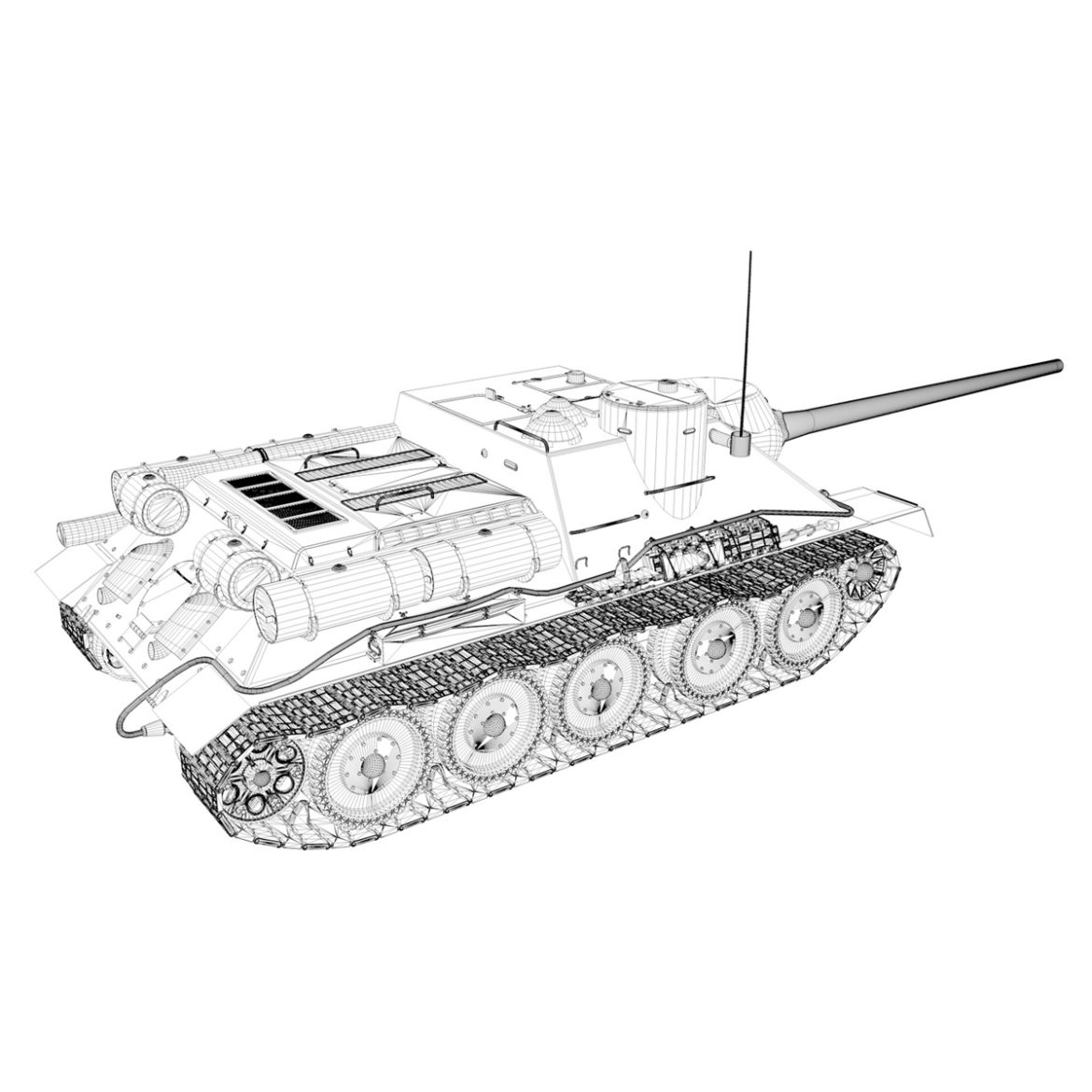 su-100 – e414 – soviet tank destroyer 3d model 3ds c4d lwo obj 314707
