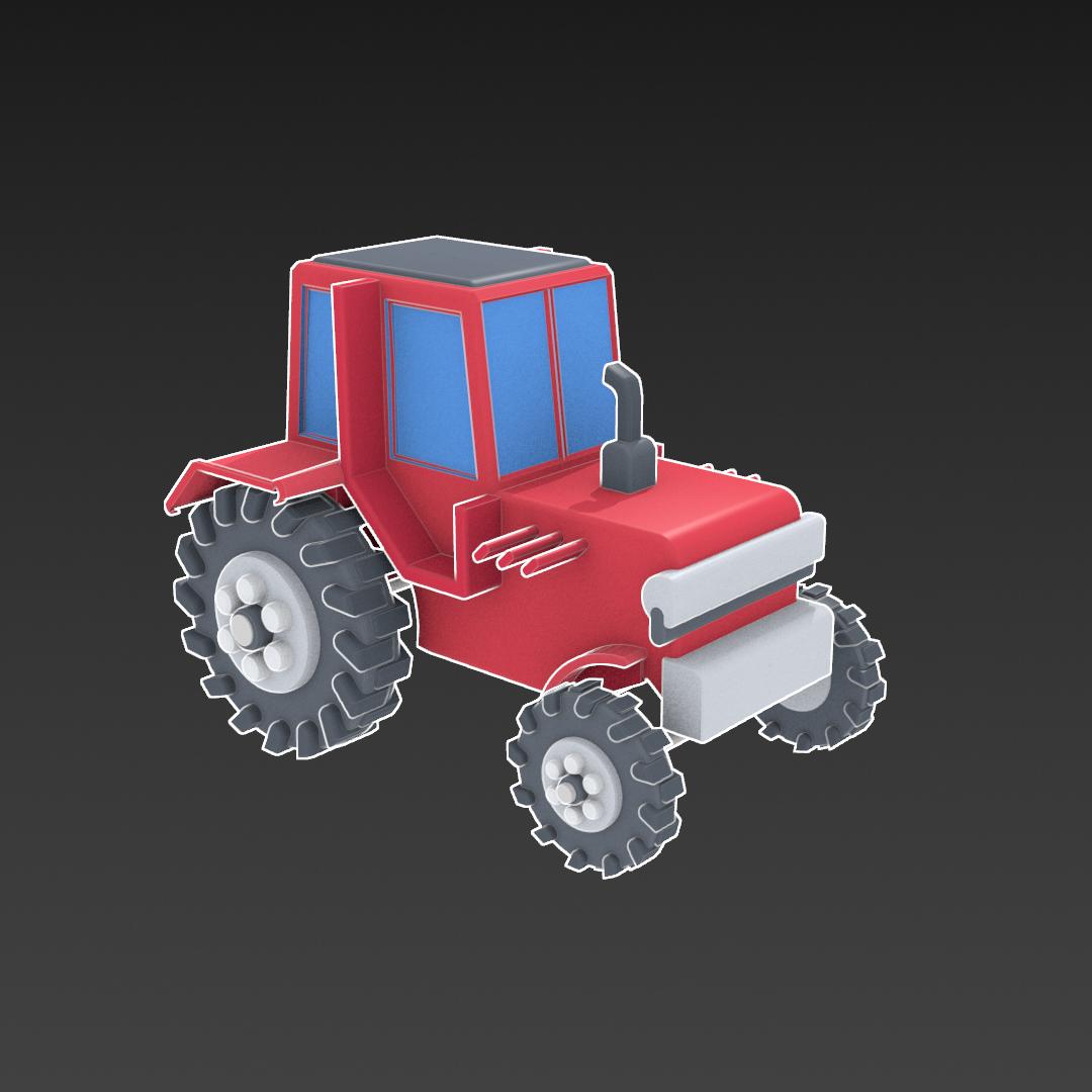 Tractor de dibuixos animats model 3d barreja 317149