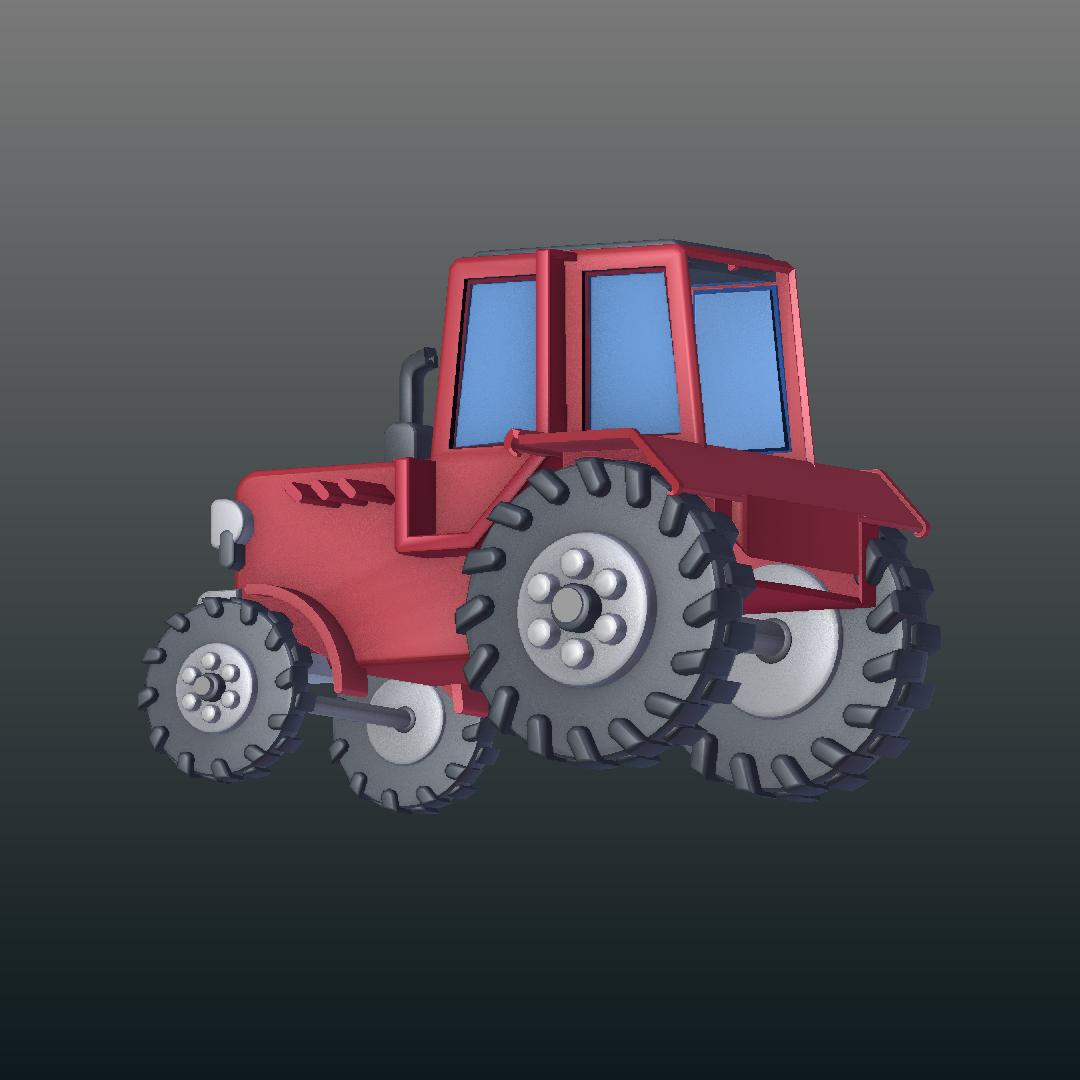 Tractor de dibuixos animats model 3d barreja 317150