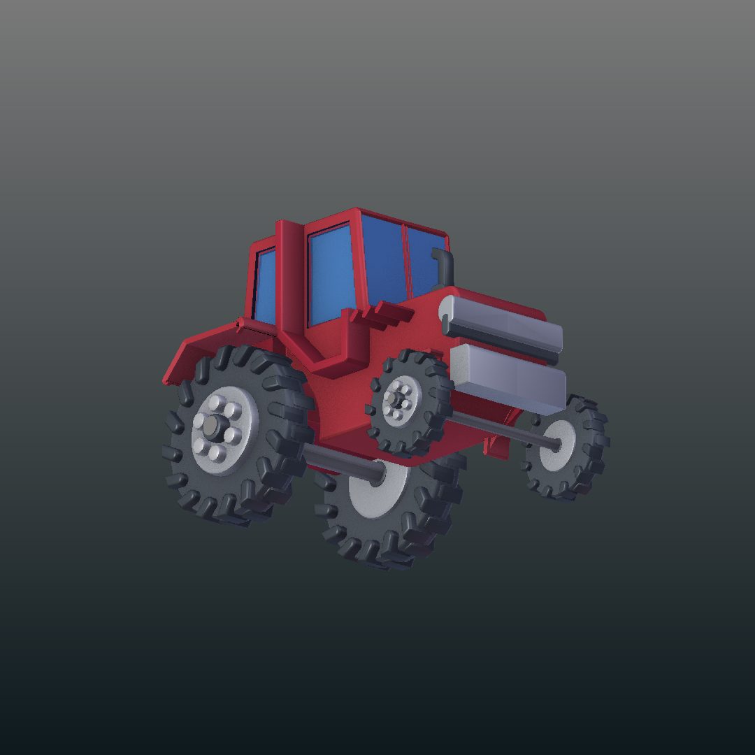Tractor de dibuixos animats model 3d barreja 317151