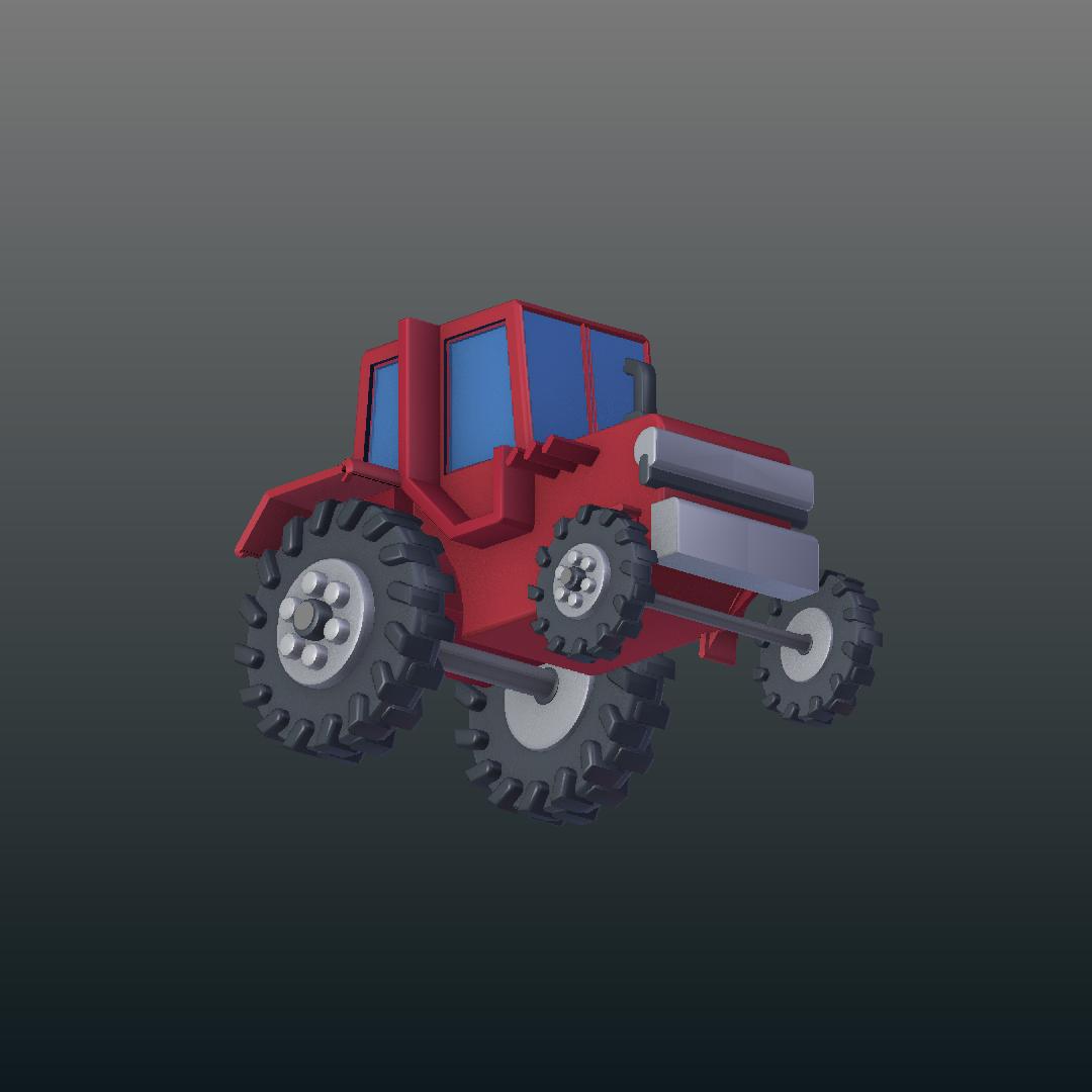 cartoon tractor 3d model blend 317151