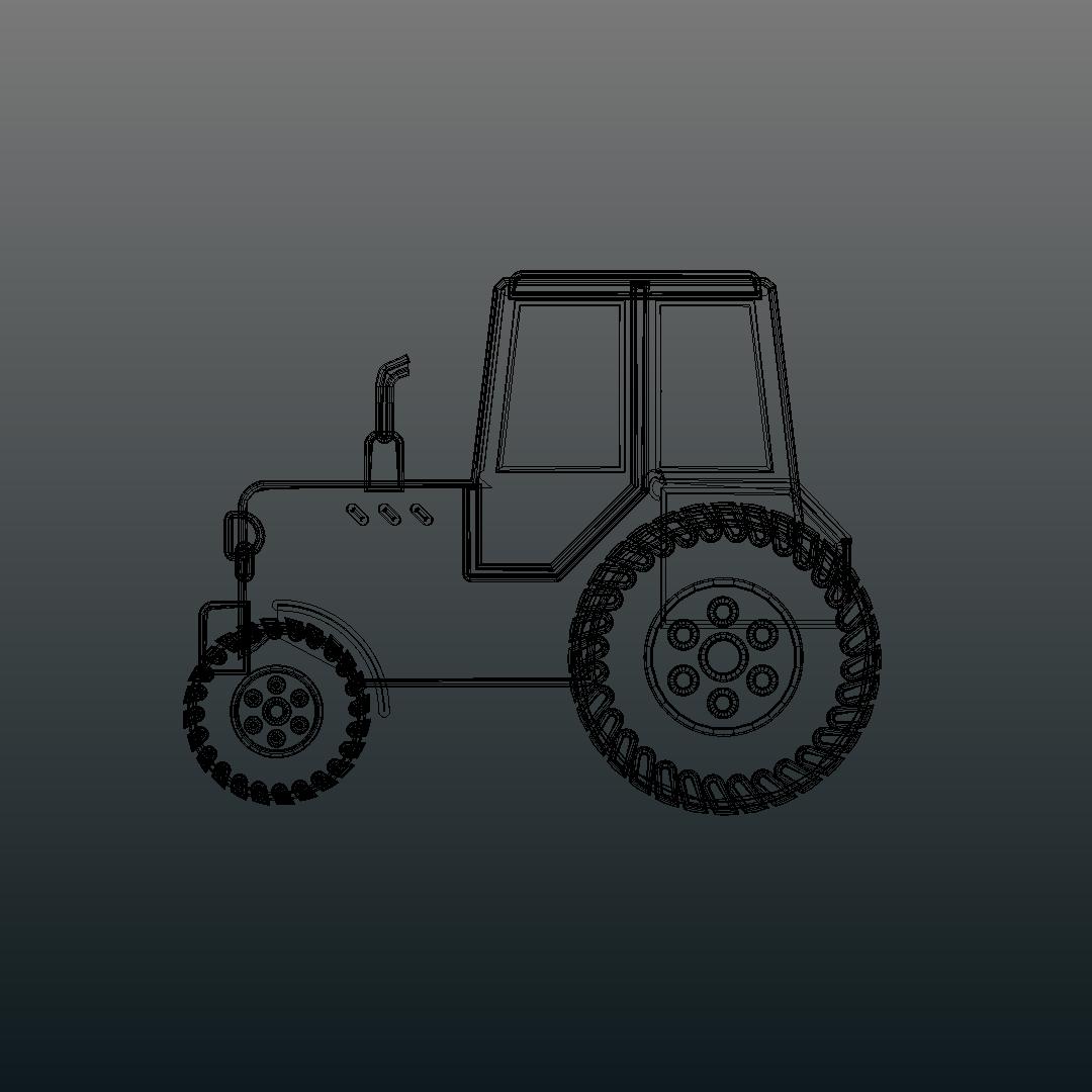 Tractor de dibuixos animats model 3d barreja 317152