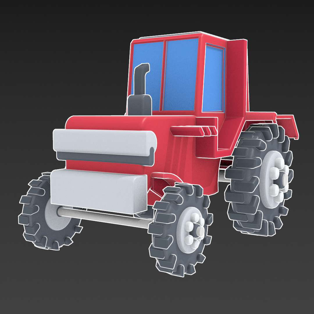 Tractor de dibuixos animats model 3d barreja 317153