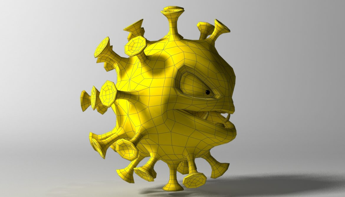 cartoon coronavirus 3d model 3ds max fbx  obj 317174