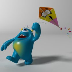 cartoon blue monster rigged 3d model 3ds max fbx  obj 318316