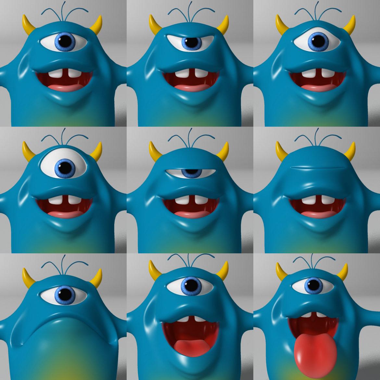cartoon blue monster rigged 3d model 3ds max fbx  obj 318325