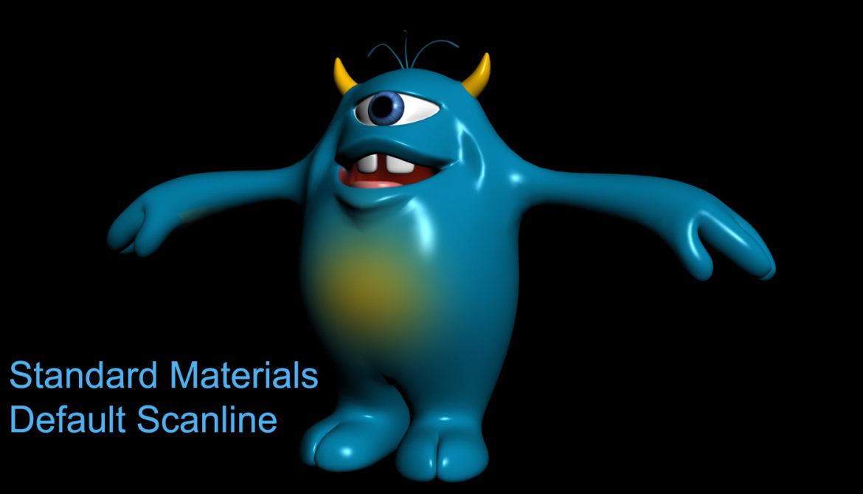 cartoon blue monster rigged 3d model 3ds max fbx  obj 318326