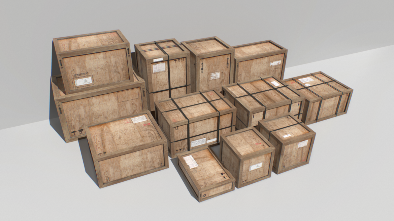 old wooden cargo crates pbr 3d model fbx obj 319292