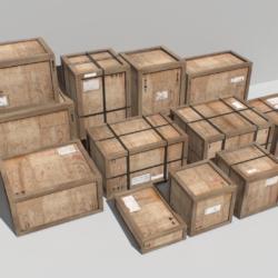 Stare drewniane skrzynie ładunkowe PBR Model 3D fbx obj 319292