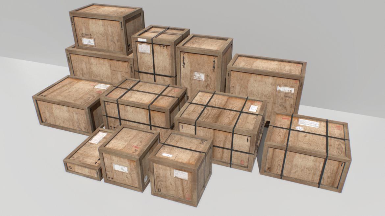 old wooden cargo crates pbr 3d model fbx obj 319294