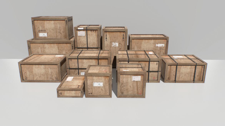 old wooden cargo crates pbr 3d model fbx obj 319295