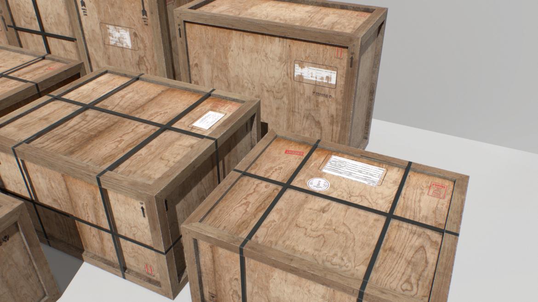 old wooden cargo crates pbr 3d model fbx obj 319296