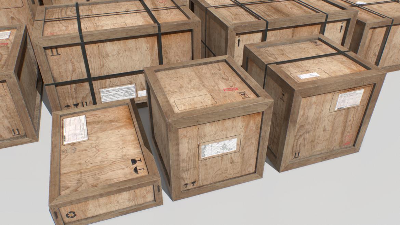 old wooden cargo crates pbr 3d model fbx obj 319297