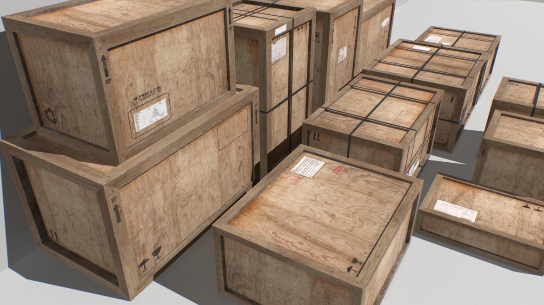 old wooden cargo crates pbr 3d model fbx obj 319298