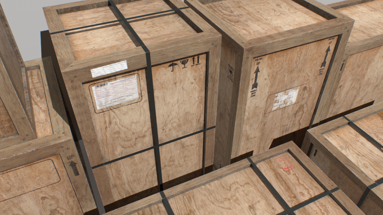 old wooden cargo crates pbr 3d model fbx obj 319299