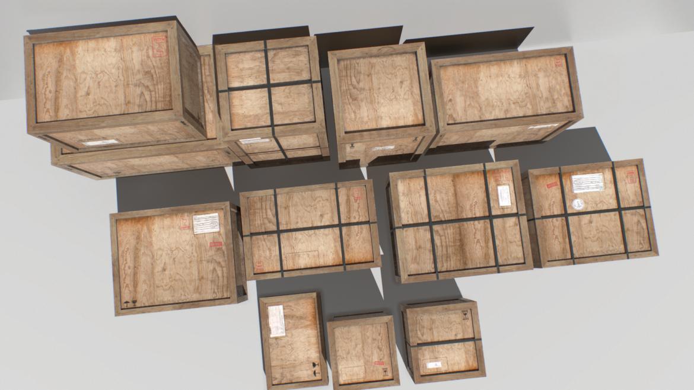 old wooden cargo crates pbr 3d model fbx obj 319300