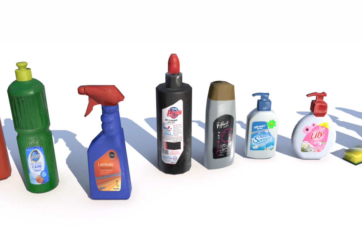 cleaning products pbr 3d model fbx obj 319345