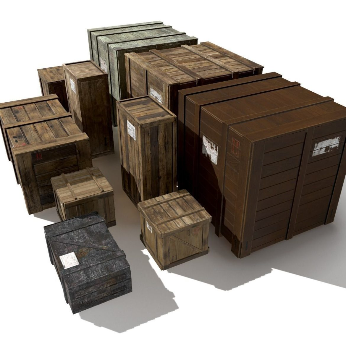 transport crates pack 3 3d model fbx obj 319432