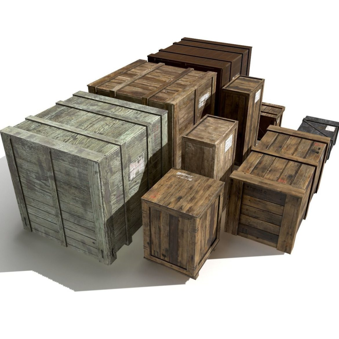 transport crates pack 3 3d model fbx obj 319433