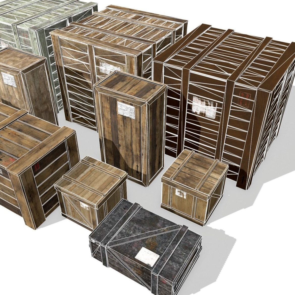 transport crates pack 3 3d model fbx obj 319444