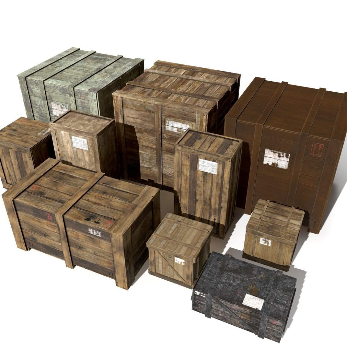transport crates pack 3 3d model fbx obj 319445