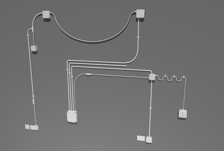 electric wall wires set 3d model fbx obj 319475