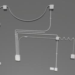zestaw elektrycznych przewodów ściennych Model 3D fbx obj 319475