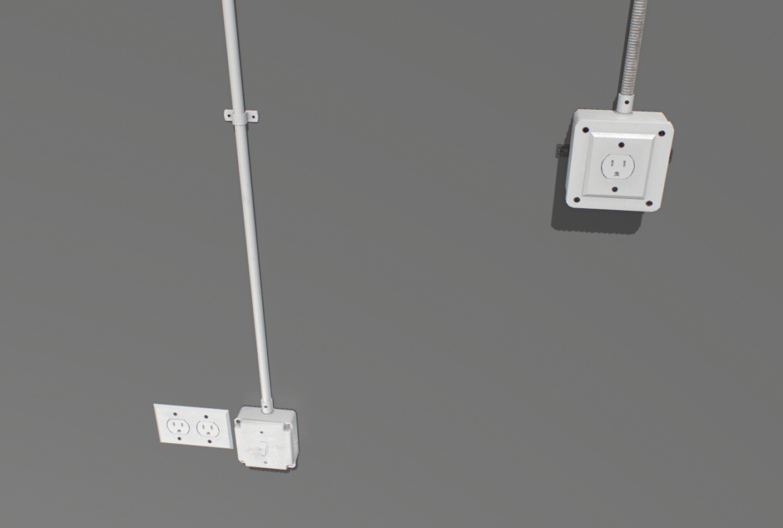electric wall wires set 3d model fbx obj 319480