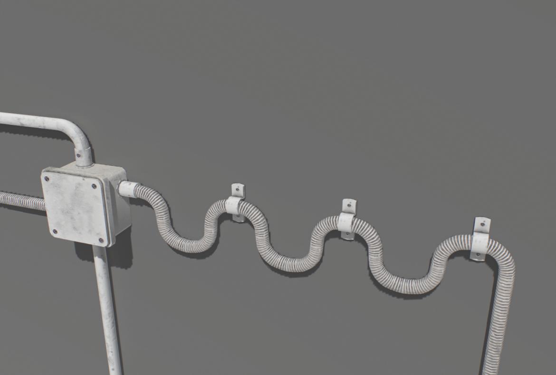 electric wall wires set 3d model fbx obj 319482