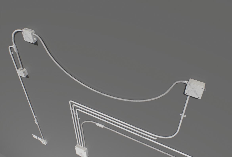 electric wall wires set 3d model fbx obj 319484