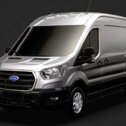 ford transit van 350 l3h2 trend 2020 3d model 3ds max fbx c4d lwo ma mb 3dm hrc xsi obj 320247