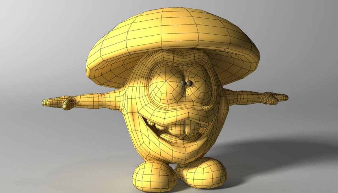 cartoon mushroom character rigged and animated 3d model 3ds max fbx  obj 320513