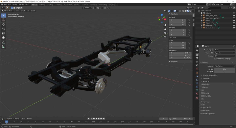 pickup truck chassis 4wd ifs 3d model 3ds max fbx blend obj 320606