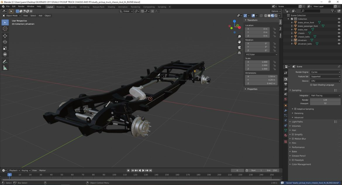 dually pickup truck chassis 4wd ifs 3d model 3ds max fbx blend obj 320650