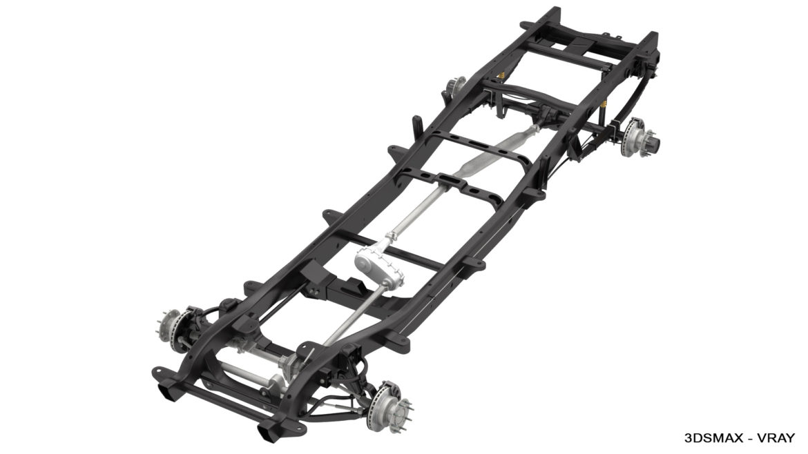 dually pickup truck chassis 4wd ifs 3d model 3ds max fbx blend obj 320651