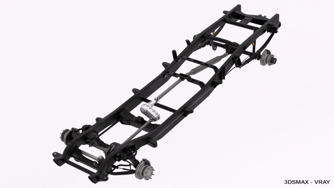 dually pickup truck chassis 4wd ifs 3d model 3ds max fbx blend obj 320652