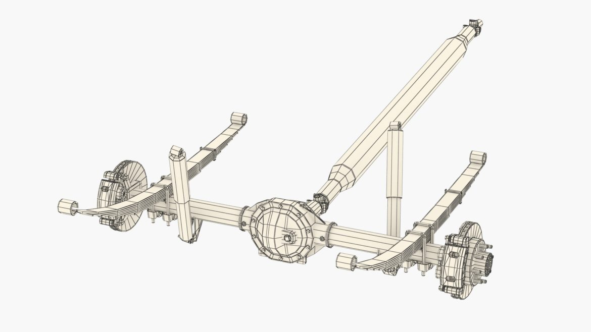 heavy duty axle and driveshaft 3d model 3ds max fbx blend obj 320666
