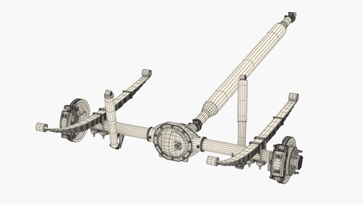 heavy duty axle and driveshaft 3d model 3ds max fbx blend obj 320667