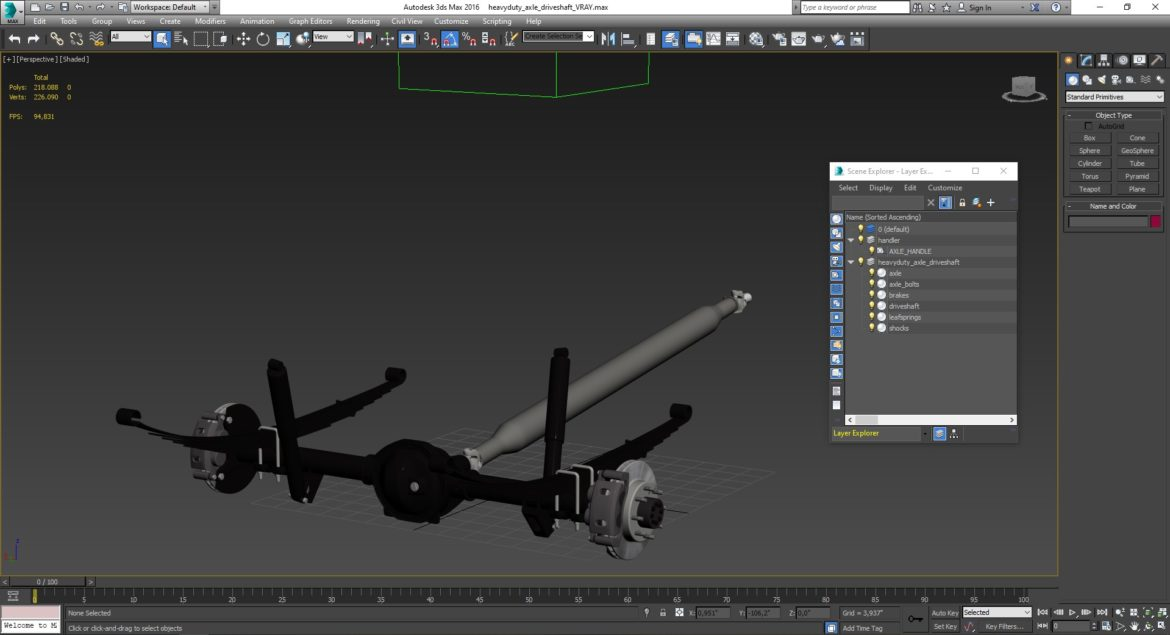 heavy duty axle and driveshaft 3d model 3ds max fbx blend obj 320668
