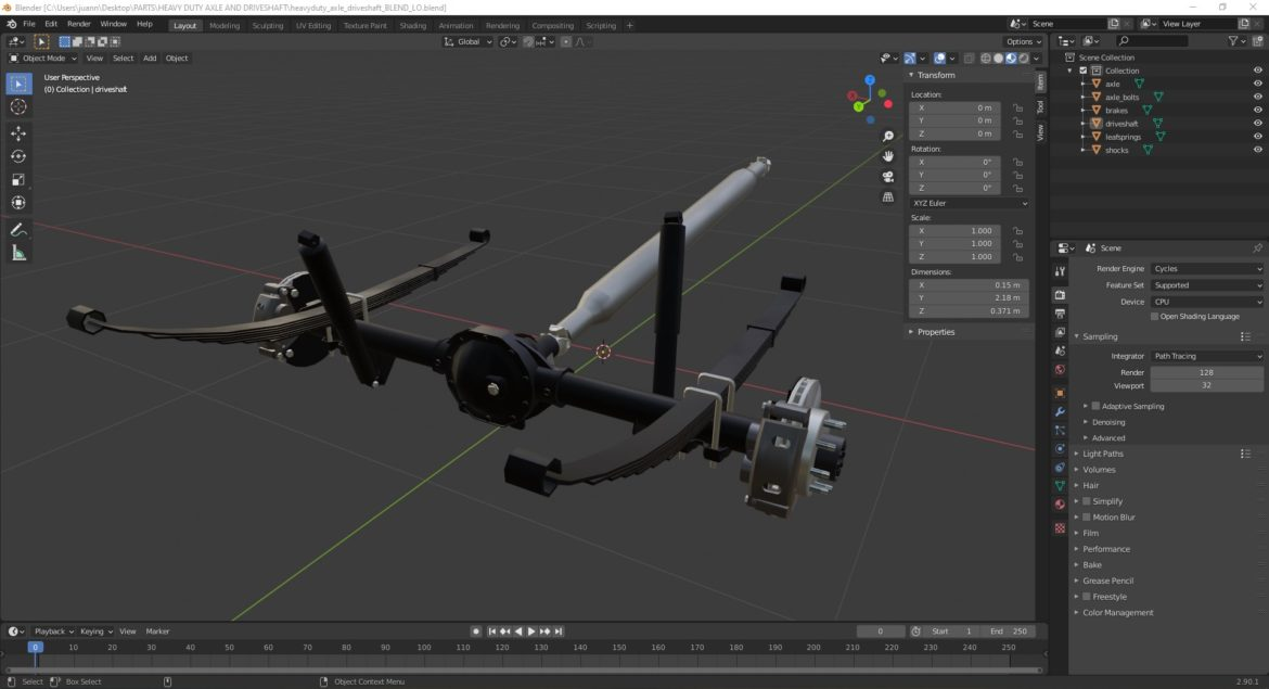 heavy duty axle and driveshaft 3d model 3ds max fbx blend obj 320669
